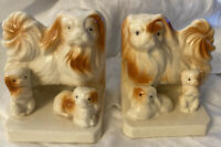 Vintage Pekinese Mama And Puppies Bookends 1950's