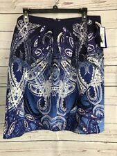 Peter Nygard Petite 14 Twilight Blue Multi Summer Blues Faux Wrap Skirt New