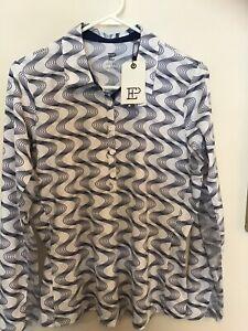 EPNY Golf Ladies Size L Blue Print Golf Shirt