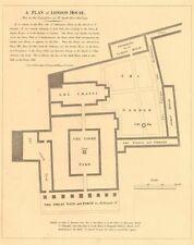 LONDON HOUSE, Aldersgate Street in 1747. Bishop of London. Jacob Ilive 1834 map