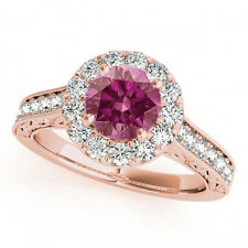 1.08 Cts Pink Diamond Flower Style Solitaire Ring 14k RG Valentineday Spl. Sale