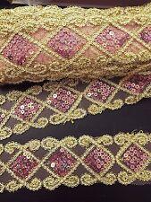 hologram Pink gold sequin lace applique motif venise dress dance costume