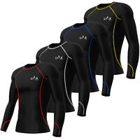 Mens Compression Top / Shirt Base Layer Top Long Sleeves Gym Exercise Yoga Fit