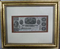Framed Fredrick Maryland $10 Chesapeake and Ohio Canal Company Bank Note
