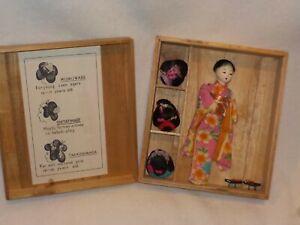 Vintage Oriental Doll W/3 Wigs In Wooden Box-Marked The Hanako Japan