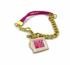 BN AVON COLLECTIBLE 130 YEAR ANNIVERSARY CHARM BRACELET PINK & GOLD FREE SHIP!