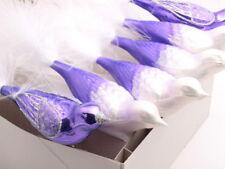 Lot 6 Czech glass clip on bird Christmas tree ornaments baubles purple white