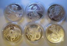 THE WORLD OF DRAGONS SILVER SET of 6  BU 1 oz .999 SILVERROUNDS IN CAPSULES