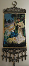 Icon of Christmas Birth of Jesus and Nativity Woven Textile Hanging Ornament
