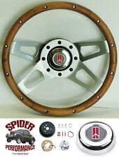 """1967 Cutlass 442 F85 steering wheel OLDSMOBILE 13 1/2"""" WALNUT 4 SPOKE"""