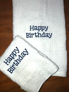 Embroidered White Bathroom Hand Towel / Wash Cloth Happy Birthday  only H1481