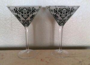 "Black Brocade Damask 7 5/8"" Tall Martini Glasses Etched Set of 2"