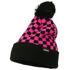 Pink Grey Checkered Flag Knit Pom Sweater Beanie Cap Hat Cuglog K019-HPKBLK
