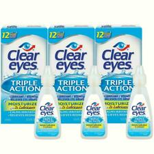 Clear Eyes Triple Action Lubricant/Redness Relief Eye Drops 0.5 FL OZ  Pack of 3
