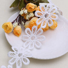 2 Yards White Daisy Flower Lace Trim Ribbon Embroidered Craft Sewing Applique