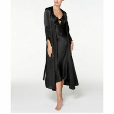 FLORA NIKROOZ Women's Stella Satin Venise Trim Robe Black Size L XL NEW $85