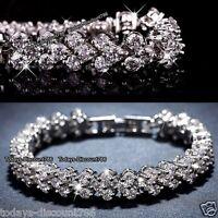 ROMANTIC Crystal Bracelet Gift For Her Silver Wife Lady Girlfriend Women Love UK