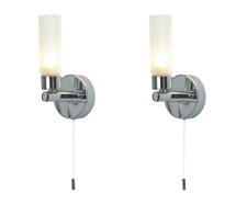 Pair Of Modern Chrome Ip44 Bathroom Wall Light With Pull Cord Switch Zone 2 3