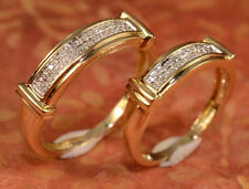 His And Hers Diamond And Gold Multiple Wedding Band Set Bride And Groom Bands