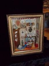Rare Vintage Miniature Porcelain Figurines Scene Framed in Shadowbox