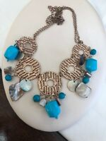 Turquoise Bohemian Gold Blister Pearl Bib Statement Necklace