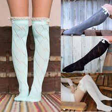 Neu Damen spitzen Spitze Lang Socken Strümpfe Baumwolle Stockings Kniestrümpfe