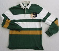 American Eagle Men's Long Sleeve Green & White Striped Rugby Polo Shirt - Small