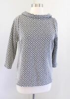 Boden Marion Black White Floral Jacquard Knit Top Blouse Size US 8 Collared