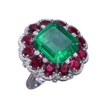 6Ct Cushion Cut Emerald Ruby Simulnt Diamond Art Deco Ring White Gold Fns Silver
