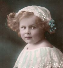 CHILDREN GIRL w/TOY BALL Old real Photo postcard ca1900 W/ HANDPAINTED DETAILS
