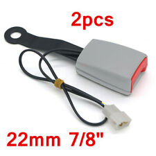 22mm 7/8'' Car Safety Seat Belt Buckle Connector Plug Kit W/Warning Cable Gray