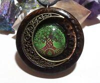 Celtic Tree of Life and Moon Pendant in burnt oak, Celtic spiritual jewelry