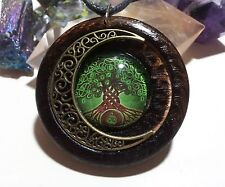 Celtic Tree of Life and Moon Pendant in burnt oak, Celtic spiritual jewelry