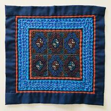 "Mini Doll Bed Quilt Tiny Blue & Red Cross Stitch Design w/ Borders 9.5 x 9.25"""