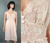 Vintage Vanity Fair Nightgown L 38 Pale Peach Nylon Off White Lace Chiffon Cups