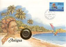 superbe enveloppe ANTIGUA BARBUDA pièce monnaie 10 CTS 1981 UNC NEW timbre