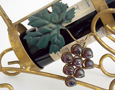 WINE BOTTLE CADDY HOLDER WROUGHT IRON WITH GRAPES & LEAVES ANTIQE GOLD FINISH