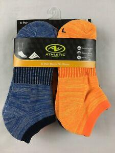 NEW Athletic Works 6 Pair Boys No Show Socks Sz L-2 Orange/2 Lt Blue/2 Dark Blue