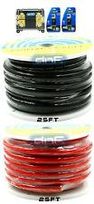 0 Gauge Amplifier AMP Power/ Ground Cable Red 25 FT Black 25 FT + Fuse Holder
