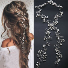 Women Wedding Flower Girl Bride Crystal Pearl Hair Band Head Piece Garland Decor
