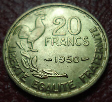 1950 FRANCE 20 FRANCS IN UNCIRCULATED CONDITION (3 PLUMES GEORGES GUIRAUD)