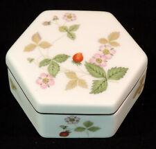 Wedgwood Wild Strawberry 6 sided covered Trinket Box Bone China England