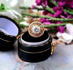 Vintage 14ct Rose Gold Statement Greek Key Design Crystal Solitaire Ring Size L