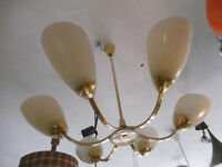 Lampe Leuchte Deckenlampe Hängelampe 50er Jahre Messing 6 Arme