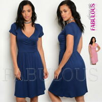 New Short Sleeve Wrap Look Dress V-Neck Stretchy A-Line Party Size 6 8 10 XS S M