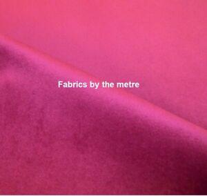 FUCHSIA PINK Plush Plain FIRE RETARDANT Velvet Upholstery / Curtain Fabric