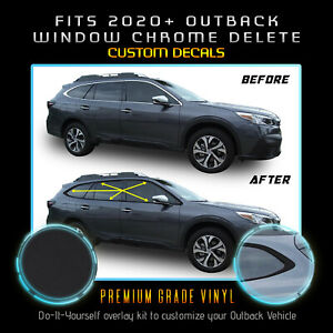Fits 20+ Subaru Outback Window Trim Chrome Delete Vinyl Blackout Kit Matte Black