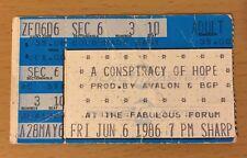 1986 A Conspiracy Of Hope Los Angeles Concert Ticket Stub U2 Sting Bryan Adams 0