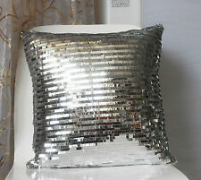 2Pcs New Bling Silver Sequins Shiny Glittering Sofa Cushion Pillow Case Cover