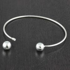 Womens 925 Sterling Silver Plain 8mm Balls Screw Bangle Cuff Bracelet